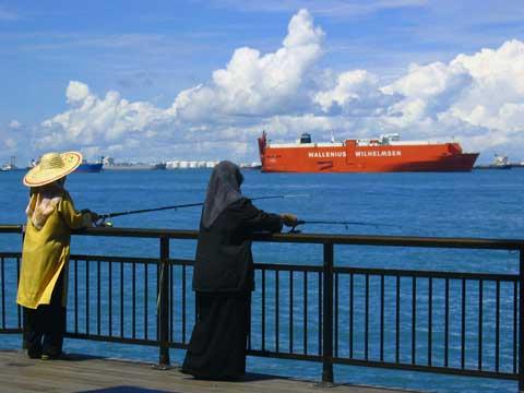 Muslim ladies fishing