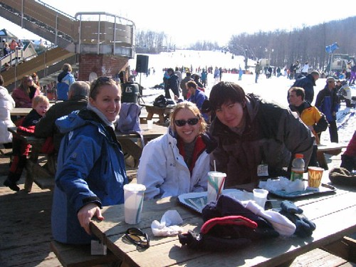 Suzelle, Andrea and Chuck take a break from the slopes