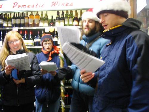 Caroling in a JP liquor store