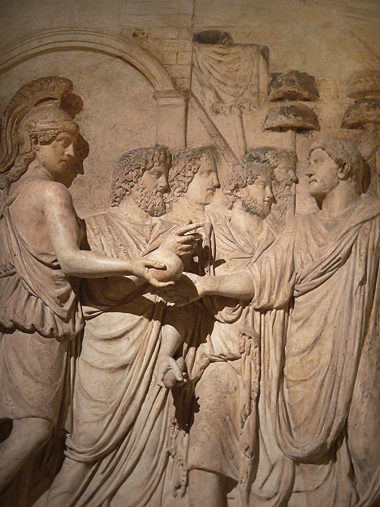 Relief depicting the Roman Emperor Hadrian being greeted by a Genius (personification) of the Roman Senate, once part of a triumphal monument to Hadrian
