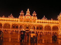 Mysore Palace in its glittering beauty at night