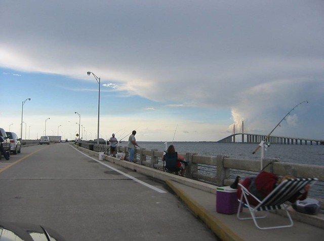 sunshine skyway from fishing pier st petersburg florida
