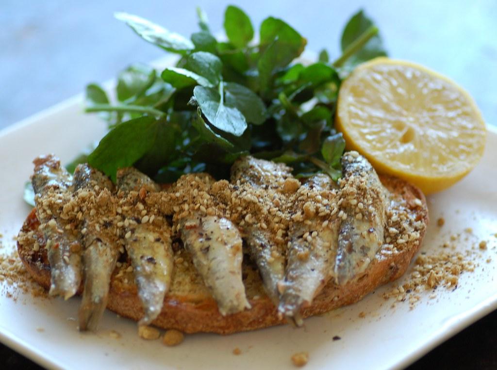 sardines on toast with dukkah