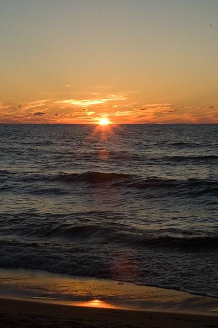 live inland coast beautiful lake michigan sunset