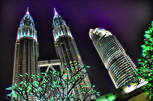 city night skyscraper lights nikon d2x falling malaysia kualalumpur hdr klcc dominoes patronas d2xs patronastowers