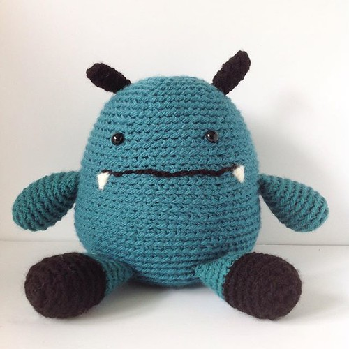 This little guy is a gift for my nephew's birthday next week. I made it up as I went along, in chunky weight yarn so it went faster. #craft #crochettoy