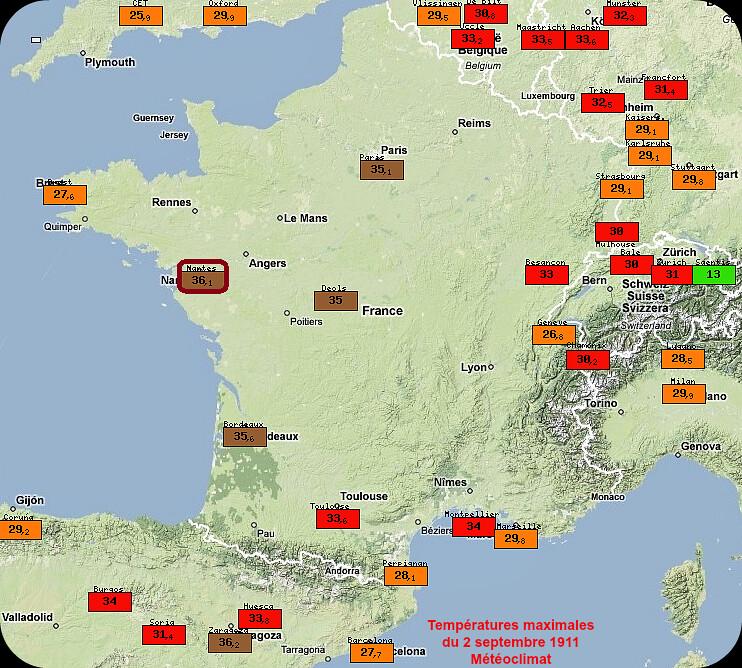 début de la vague de chaleur et températures maximales du 2 septembre 1911 météopassion