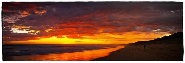 Multi-image stitched panorama VB beach sunset 06