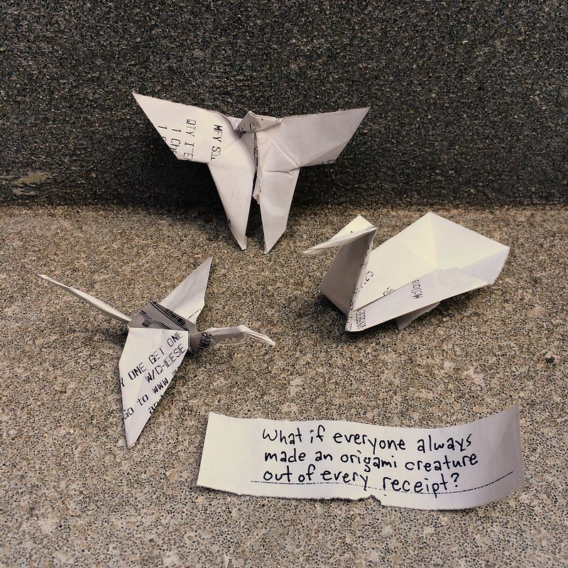 What if everyone always made a origami creature out of every receipt?