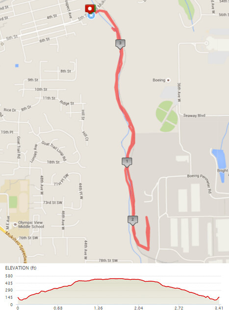 """Today""""s awesome walk, 3.4 miles in 1:09, 7,319 steps, 399ft gain"""