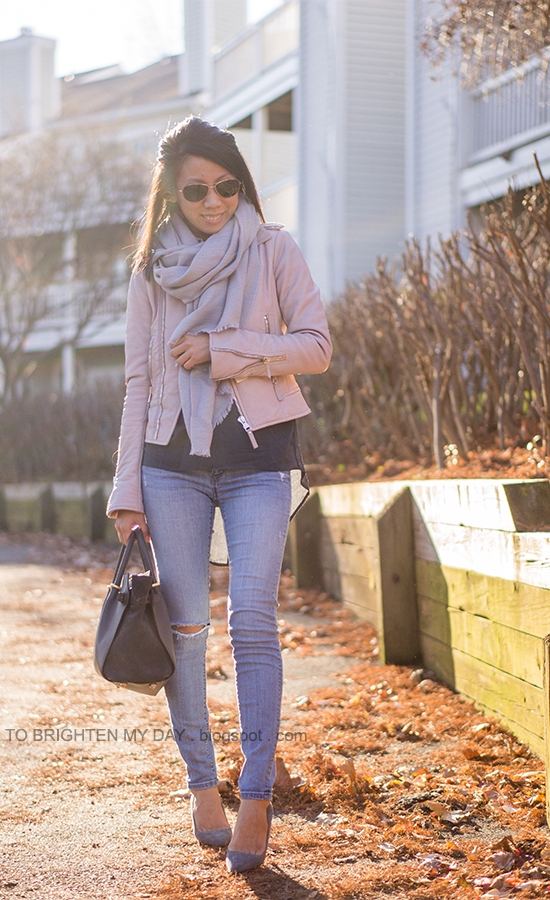 gray scarf, lilac leather jacket, dark gray tunic, light wash distressed jeans, gray suede pumps