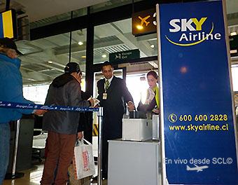 Sky Airline control de pasajeros embarque (RD)