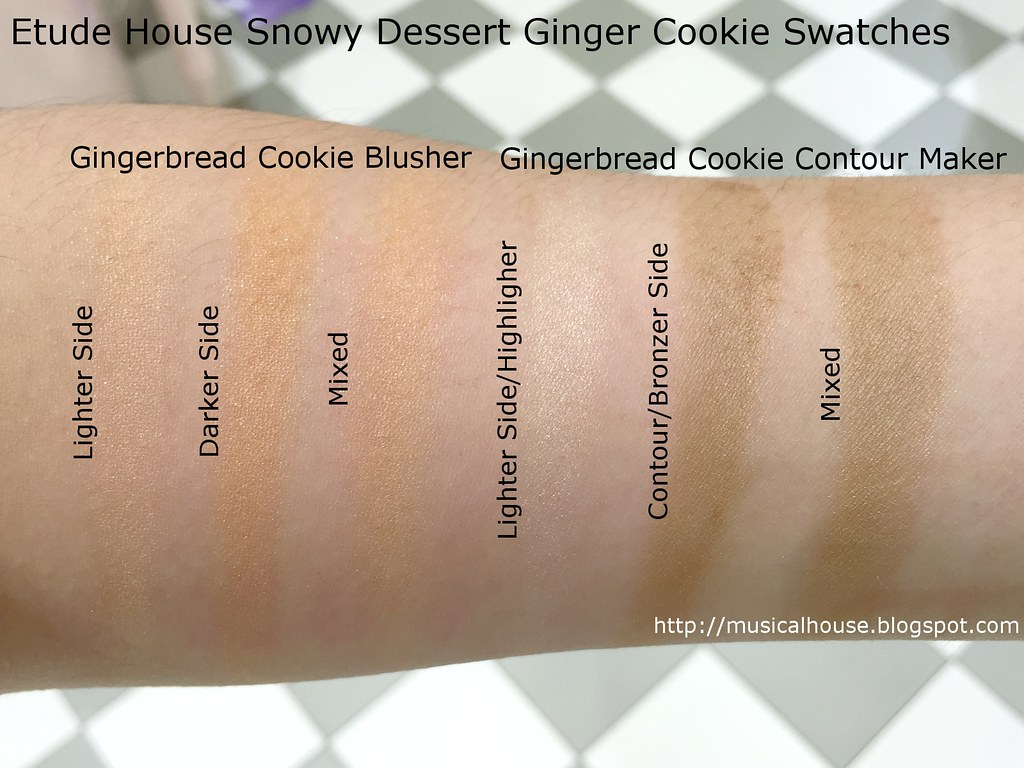 Etude House Ginger Cookie Blusher Contour Swatches
