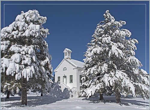 chapel church pinevalley utah forest woods trees pine snow winter cold