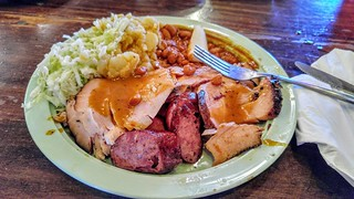 Turkey and Sausage Dinner Plate at the Salt Lick BBQ in Driftwood, TX