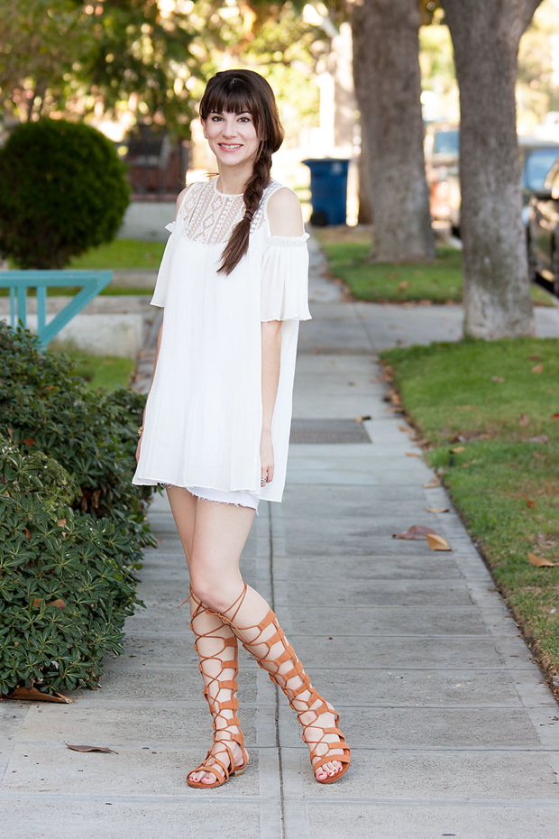 White Dress, Choies Sandals, Lace Up Sandals, Summer Outfit