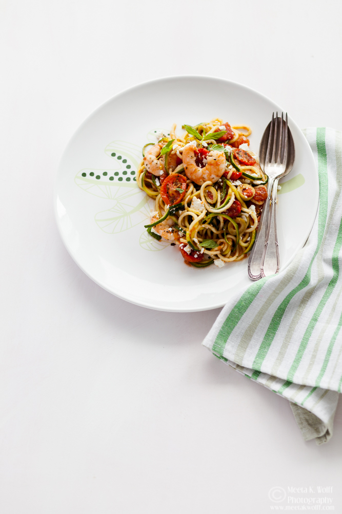 Zucchini Noodles Shrimp and Slow Roasted Tomato Sauce (0137) by Meeta K. Wolff