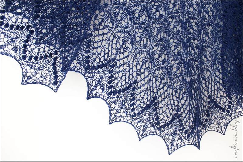 Dark blue Echo Flower shawl
