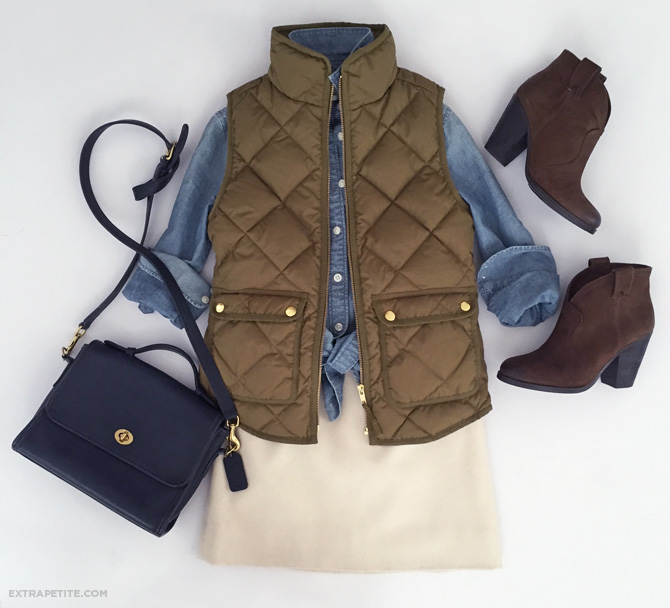 puffer vest denim shirt fall casual outfit
