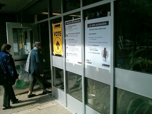 teambates posted a photo:	Going to vote at a polling place in Toronto during the 2015 Canadian federal election.