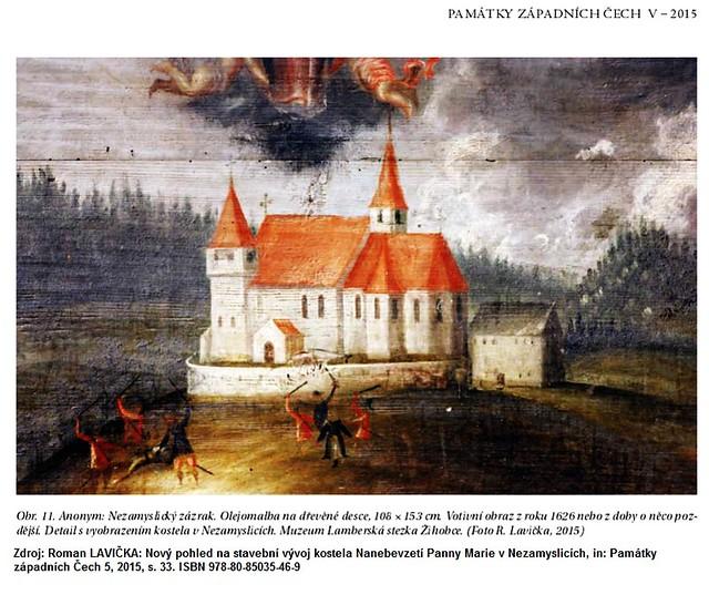 Nezamyslice (KT), kostel snad roku 1626 nebo násl. roky (repro dle Roman Lavička, Památky západních Čech 5, 2015, s. 33)