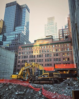 Photo number 18. Managed to sneak my phone through a hole in the fence for a slightly different view. #constructionsite #constructionseries43rdstreet #nyc #futureluxurycondo #disappearingny | by Lin Culbertson