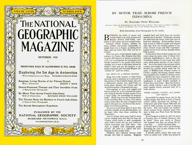 NATIONAL GEOGRAPHIC Magazine October 1935 (1) - By Motor Trail Across French Indo-China by Maynard Owen Williams