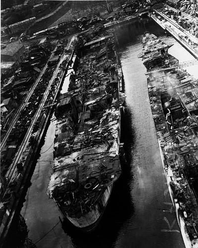 Kasagi and Ibuki Being Scrapped at  Sasebo. 1946-1948