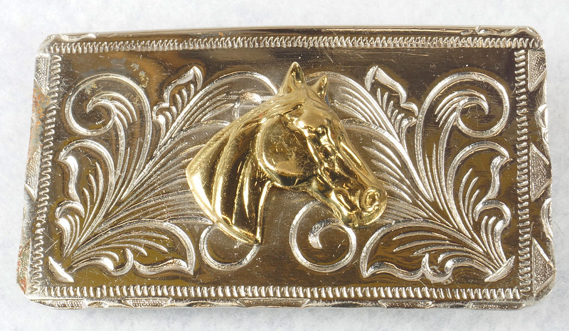 RD15035 Vintage Rockmount Denver Nickel Silver Horse Head Belt Buckle DSC07419