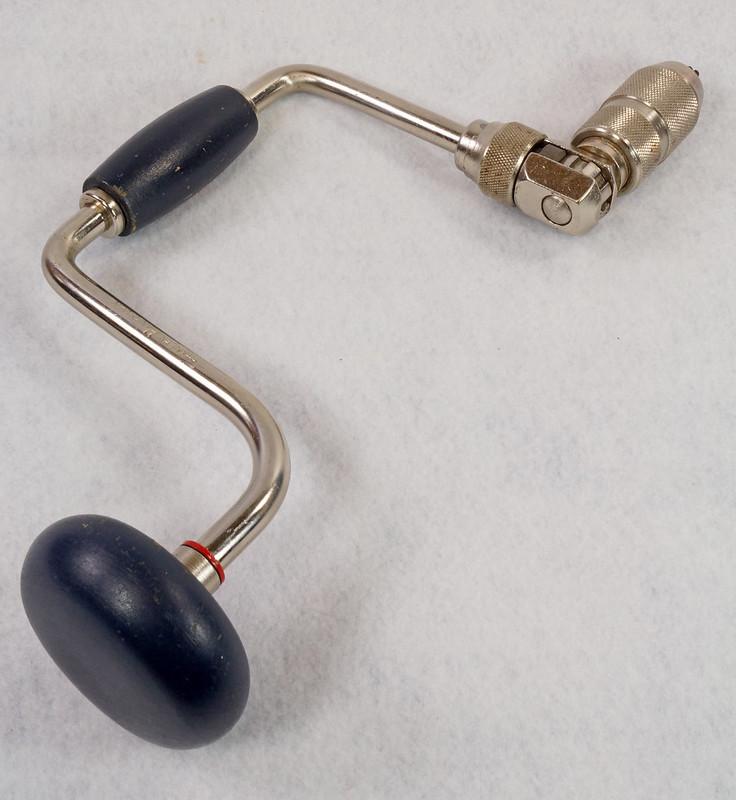 RD15321 Vintage Stanley Handyman Ratchet Brace Bit Hand Drill H1253 Dark Blue Wood Handles DSC09145