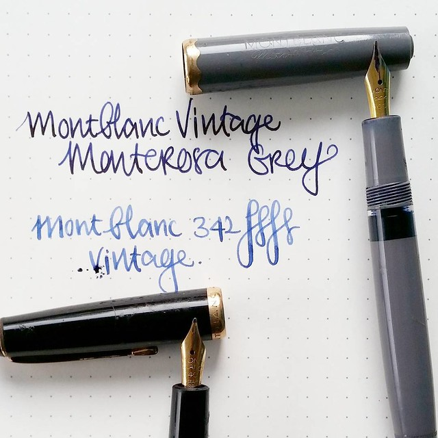 A few great vintage fountain pen finds while thrifting in Sweden. Montblanc monterosa and a 342. Both write really well. Ink in the pen is revived old ink.