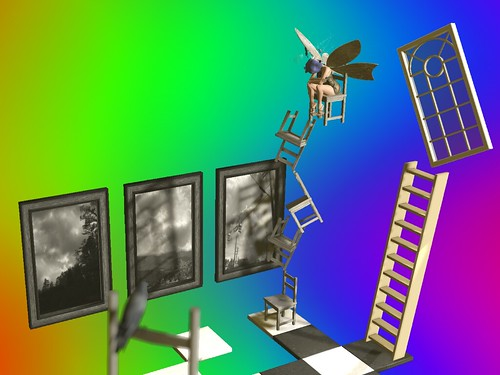 Image Description: Distance shot of a winged faerie sitting on the top of a stack of chairs with a ladder-perch of a crow in the foreground. The stack of chairs is on a checkerboard colored floor, and three paintings hand in front of a rainbow void to one side.