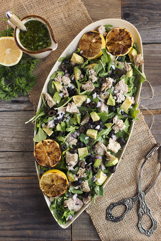 Tuna and Arugula Salad with Avocado, Black Olives & Lemon Parsley Vinaigrette