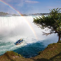 A rainbow over Niagara Falls as observed from the Canadian side. #travel #canada #niagarafalls