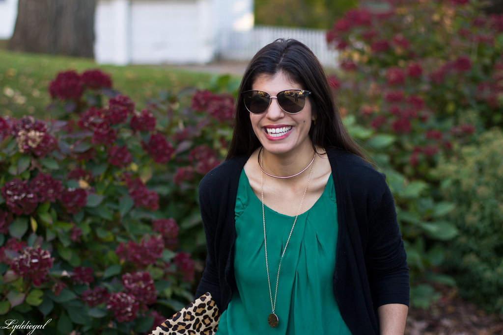 green silk blouse, black cardigan, leopard clutch-1.jpg