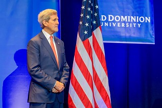 Secretary Kerry Waits to be Introduced Before Speaking at Old Dominion University
