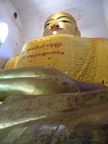 New Bagan: la pagode Manuha Paya et ses 4 grandes statues de Bouddha