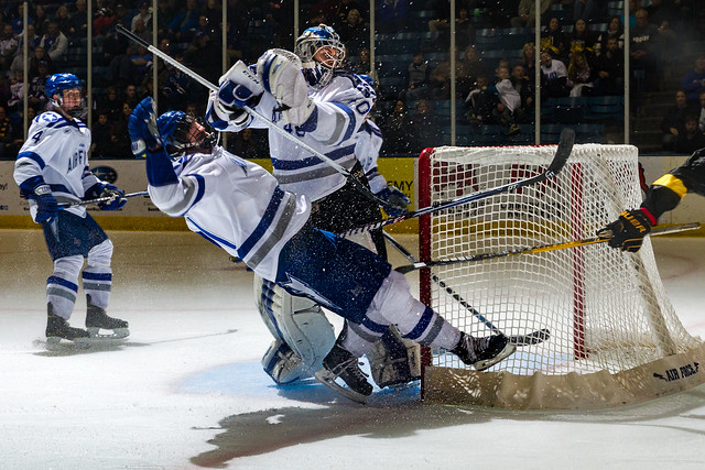 Air Force defeats rival team Colorado College 4-3 in the last 35.9 seconds of the November 27, 2015 hockey game at Clune Arena in Colorado Springs, Colo. (Air Force photo/Liz Copan)