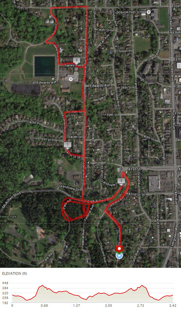 Today's awesome walk, 3.42 miles in 1:03, 7,348 steps, 401ft gain