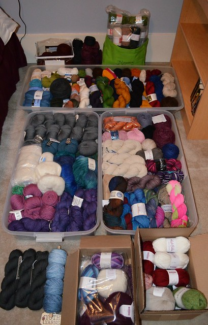 My yarn stash, as of Dec. 2015
