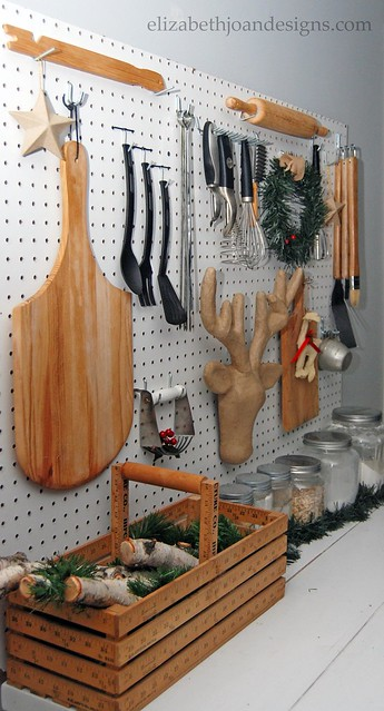 Pegboard and Buffet decor