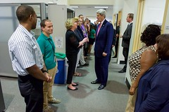 U.S. Secretary of State John Kerry greets employees at the Passport Agency Office in the U.S. Custom House in Philadelphia, Pa., after delivering a speech on September 2, 2015, about the Iranian nuclear deal at the nearby National Constitution Center. [State Department photo/ Public Domain]