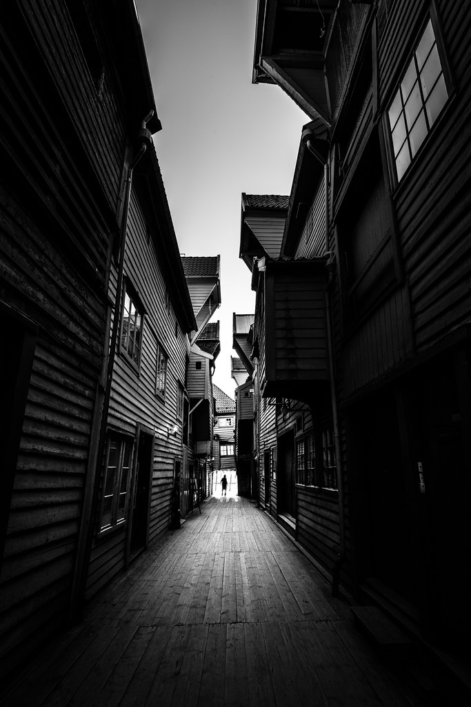 Bryggen bergen norway black and white street photography