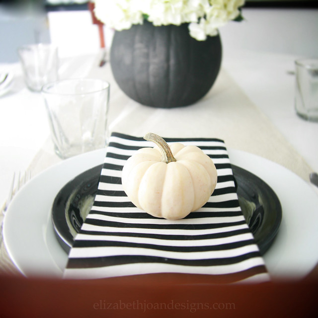 Black and White Pumpkin Place Setting