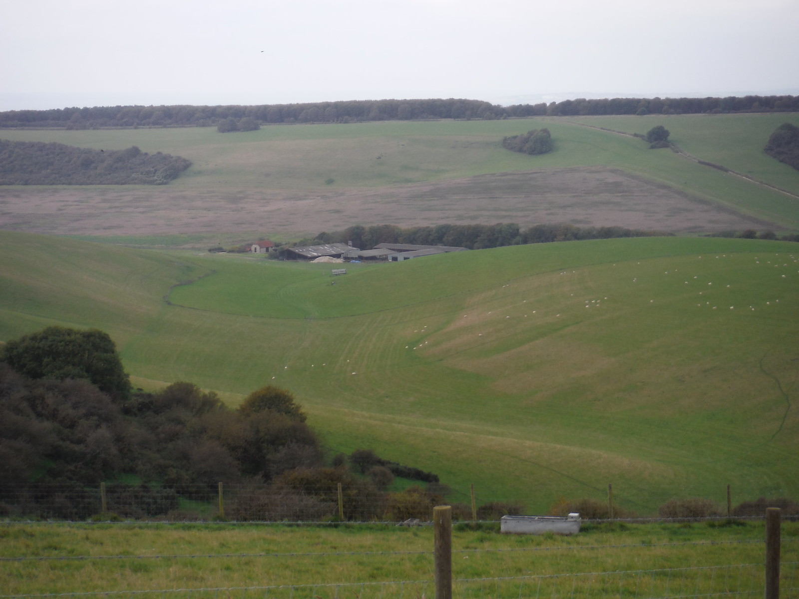 Large Farm at bottom of valley SWC Walk 25 - South Downs Way 8 : Southease to Eastbourne