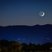 Waxing Crescent Moon Setting Southwest Roanoke by Terry Aldhizer