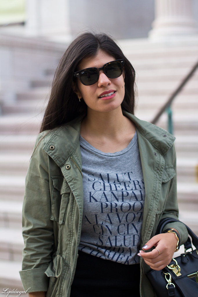 field jacket, black pencil skirt, cheers tee-4.jpg
