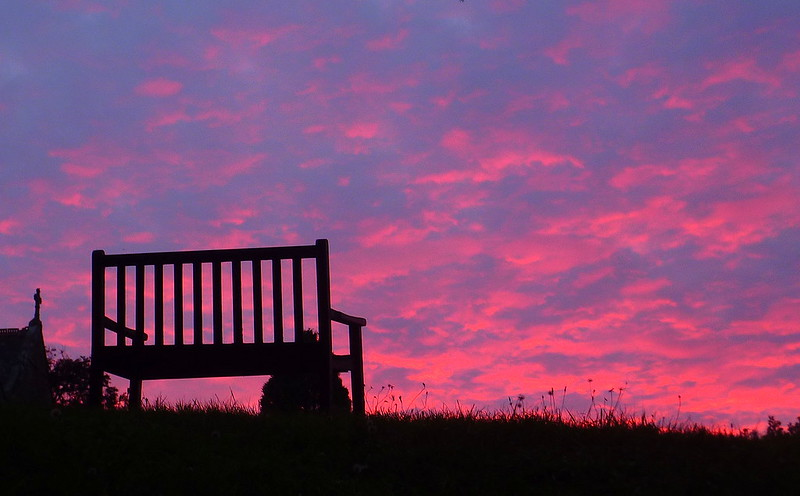 Alfrick - sunset with bench