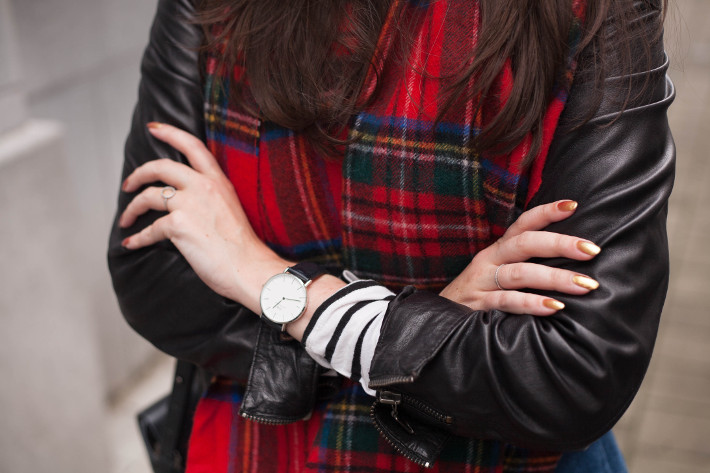 leather jacket, plaid scarf, striped top