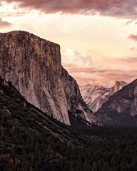 sunset at tunnel view. el capitan, and half dome. yosemite. california.